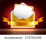 golden paper envelope with a... | Shutterstock .eps vector #175701290