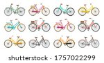 retro bicycles set. vector... | Shutterstock .eps vector #1757022299