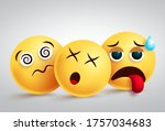 emojis tired and disappointed...   Shutterstock .eps vector #1757034683