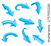 blue 3d shiny arrows. set of...   Shutterstock . vector #1757052230