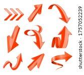 orange 3d shiny arrows....   Shutterstock . vector #1757052239