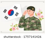 south korean soldier... | Shutterstock .eps vector #1757141426