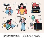 collection of delivery service  ... | Shutterstock .eps vector #1757147603