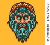 zeus head isolated on yellow... | Shutterstock .eps vector #1757176433