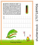 worksheet for tracing letters.... | Shutterstock .eps vector #1757189906