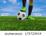 soccer ball with feet player on ... | Shutterstock . vector #175723919