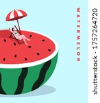 oversize watermelon and...   Shutterstock .eps vector #1757264720