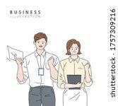 business workers  vector line... | Shutterstock .eps vector #1757309216