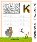 worksheet for tracing letters.... | Shutterstock .eps vector #1757320076