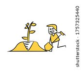 gardener shoveling  digging... | Shutterstock .eps vector #1757325440