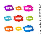 colorful stickers   stains set... | Shutterstock . vector #175732940