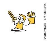 gardener holding scissors and... | Shutterstock .eps vector #1757333846