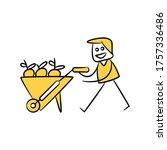 gardener carrying trolley full... | Shutterstock .eps vector #1757336486
