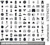 100 bodybuilder icons set in... | Shutterstock .eps vector #1757342753