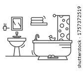 bathroom icon. linear pictogram ... | Shutterstock .eps vector #1757372519
