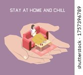 stay at home and chill concept...   Shutterstock .eps vector #1757396789