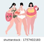 girls with a flamingo pool... | Shutterstock .eps vector #1757402183