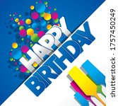 happy birthday greeting card... | Shutterstock .eps vector #1757450249