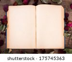 vintage open book with dried... | Shutterstock . vector #175745363