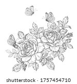 hand drawn rose flowers bunch ... | Shutterstock .eps vector #1757454710