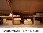 Old Wooden Attic Interior With...