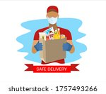 safe delivery. a courier in a...