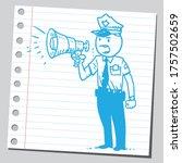 Policeman Speaking Loud Into...