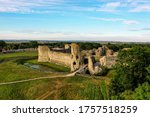 medieval castle ruins from the 1066 era, Pevensey castle, East sussex, UK  - stock photo