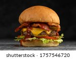 Tasty Grilled Beef Burger With...