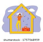 women at home listening the... | Shutterstock .eps vector #1757568959