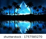 Night Landscape With Palm Trees ...