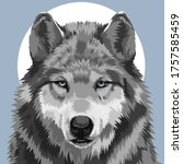 wolf under the moon art | Shutterstock . vector #1757585459