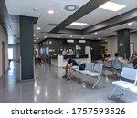 Small photo of Huelva, Spain - June 16, 2020: Outpatient appointments waiting room inside the hospital Costa de la Luz in Huelva, Spain