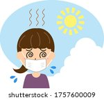 feeling hot in the summer with... | Shutterstock .eps vector #1757600009
