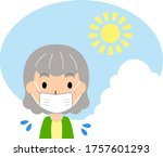 woman feeling hot in the summer ... | Shutterstock .eps vector #1757601293