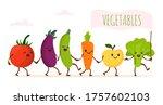 funny cartoon vegetable walking ... | Shutterstock .eps vector #1757602103