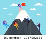 business people climbing on...   Shutterstock .eps vector #1757602883