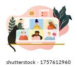 online meeting when working...   Shutterstock .eps vector #1757612960