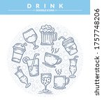 Round Of Drink Doodle Icons Set ...