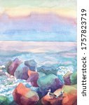 Seascape Watercolor Rocks And...