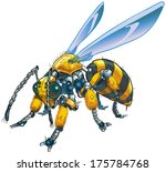 Vector cartoon clip art illustration of a robot wasp or bee. Could also be a conceptual illustration of future drone technology. - stock vector