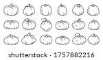 Black Line Autumn Pumpkin Icon...