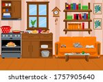modern interior of the kitchen... | Shutterstock .eps vector #1757905640