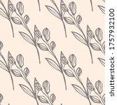 vintage line art leaf seamless...   Shutterstock .eps vector #1757932100