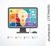 Stock vector infographic template computer jigsaw banner concept vector illustration 175794050