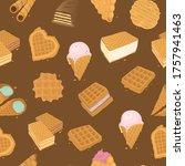 food delicious dessert  waffle... | Shutterstock .eps vector #1757941463