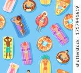seamless pattern  happy people... | Shutterstock .eps vector #1757941619