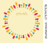 round frame of the colored wine ... | Shutterstock . vector #175797578