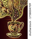 cup of coffee or tea in zen...   Shutterstock .eps vector #1758004709