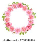watercolor drawing wreath with...   Shutterstock . vector #1758039326
